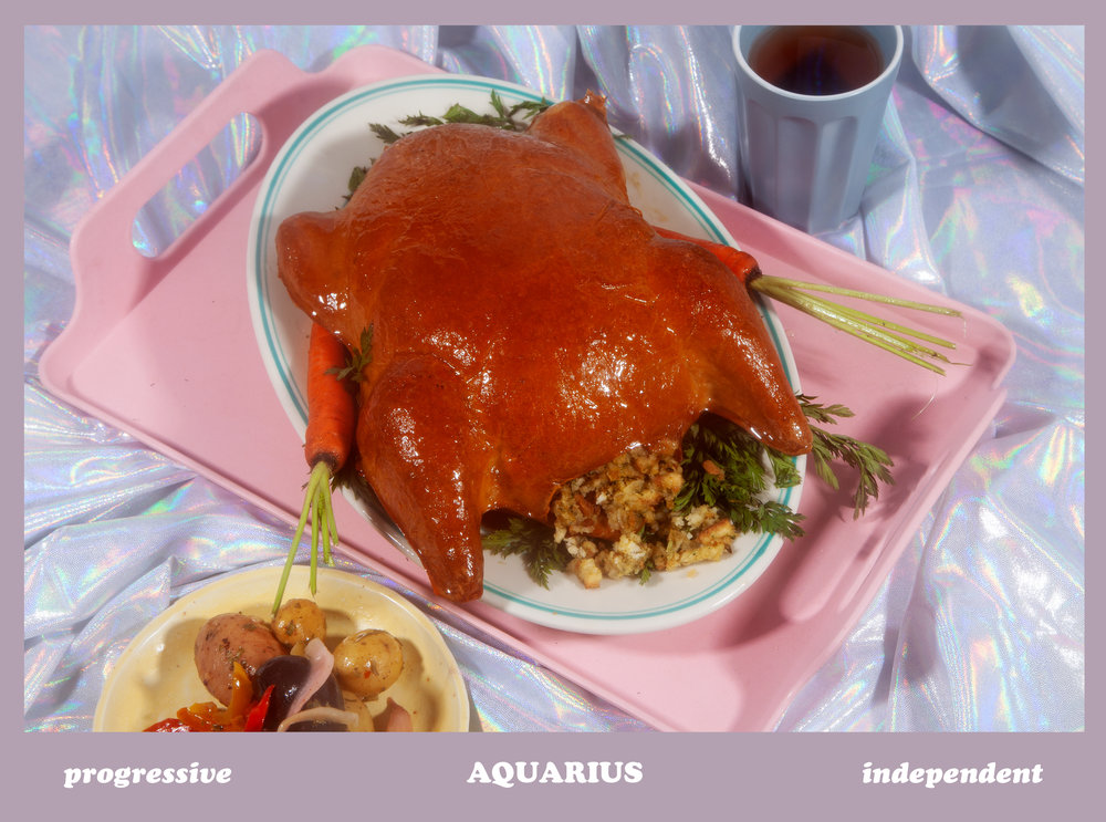 Astrology Card with Turkey Dinner