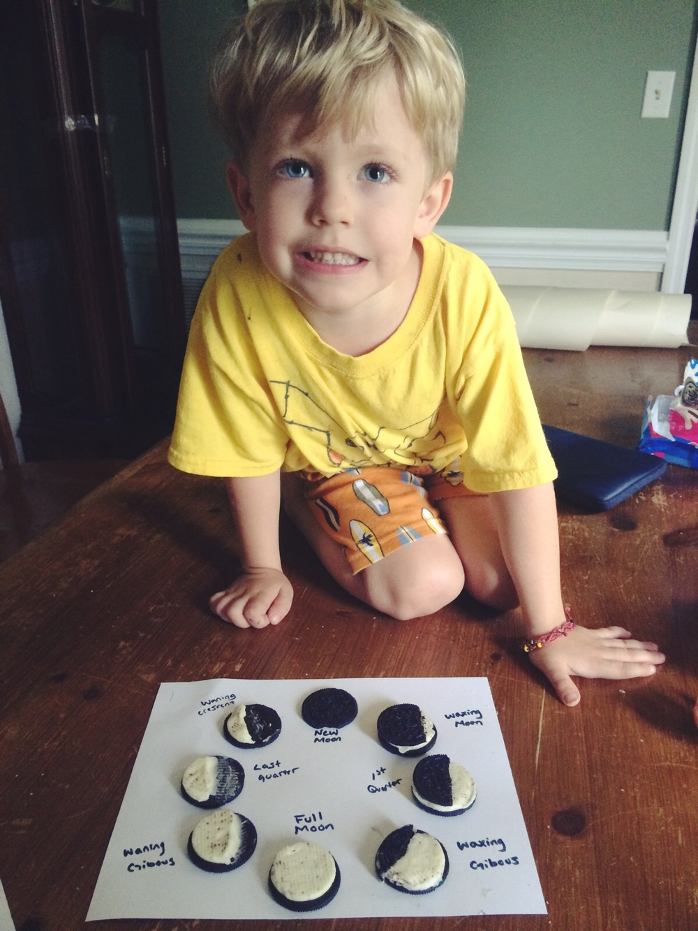 Moon phases with Oreos. This was a HUGE hit for obvious reasons.