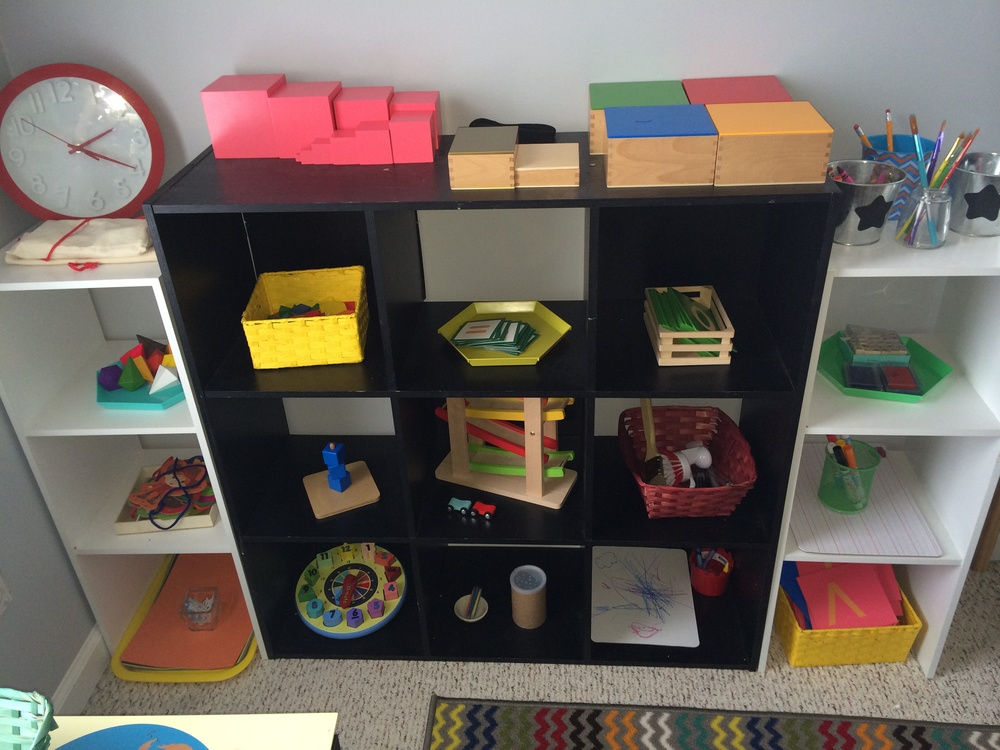 Some of our Montessori shelves from earlier this year.