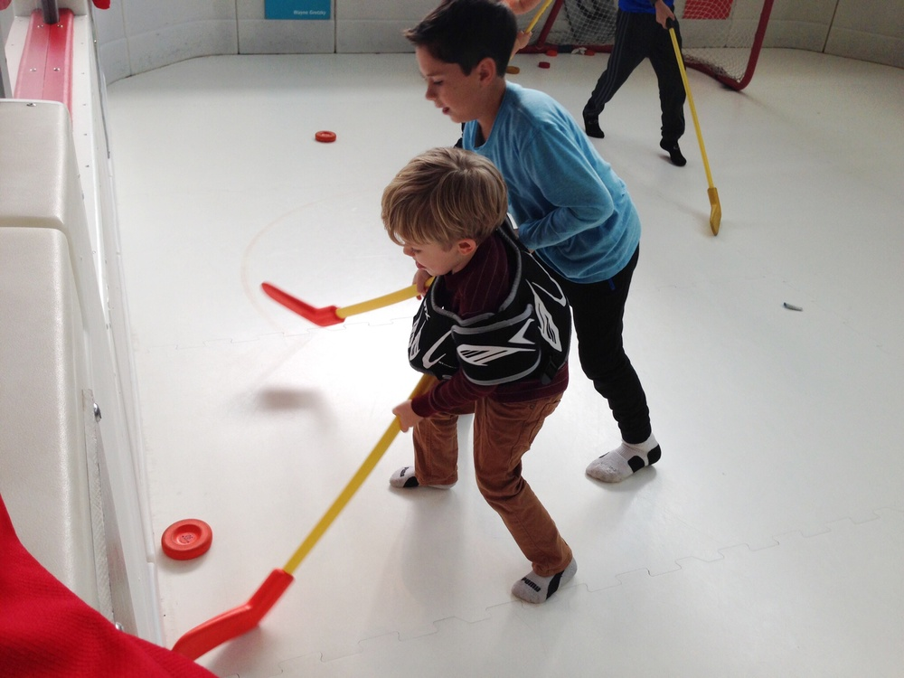sock hockey at the children's museum