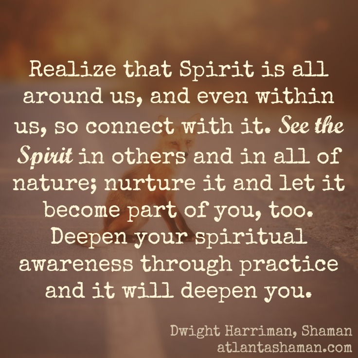 See the Spirit in other and in all of nature.Dwight Harriman, Shaman, Atlanta, GA USA