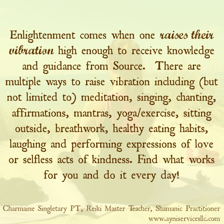 Raise your vibration.Charmaine Singletary PT,Reiki Master Teacher, Shamanic Practitioner,Wauwatosa, WI USA