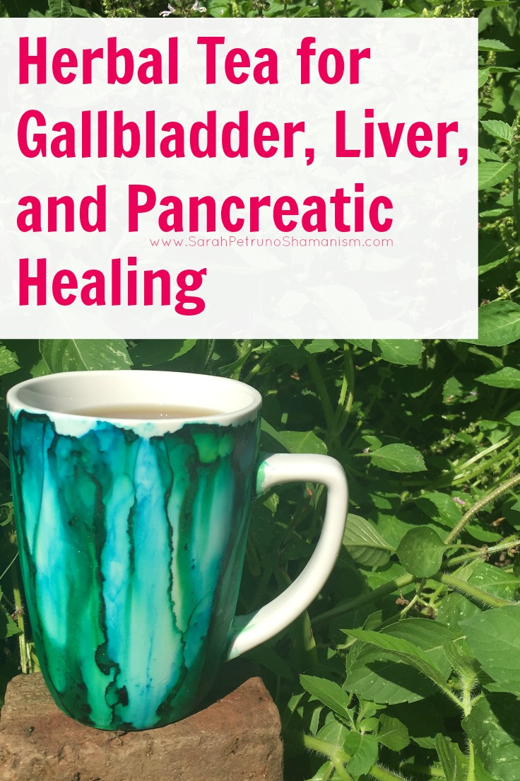 Herbal tea recipe for soothing inflammation, nausea, and pain associated with the gallbladder, liver, and pancreas. Mug from Emederart Etsy Shop.https://www.etsy.com/shop/emederart