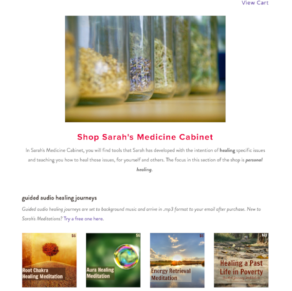 Sarah's Medicine Cabinet - online store with resources for healing specific needs.