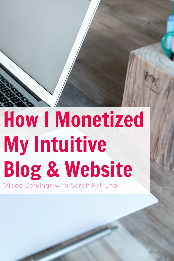 Everything I did to monetize my intuitive blog - from ad networks, to how I increased traffic and became the queen of Pinterest, to the software I use. This 45 minute video class is in-depth and packed with detail!