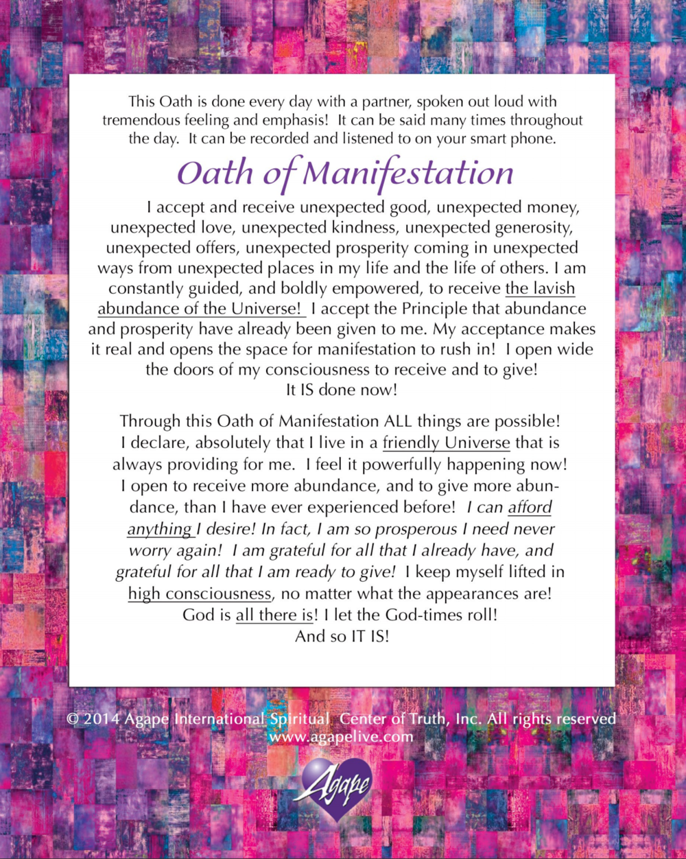 Increasing Abundance with the Oath of Manifestation from Agape Spiritual Center