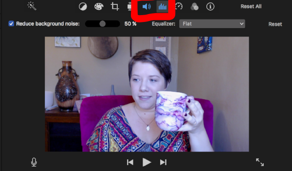Sound editing in iMovie for YouTube videos - you must select the clip to be able to edit the sound. Mug is from THIS etsy shop.