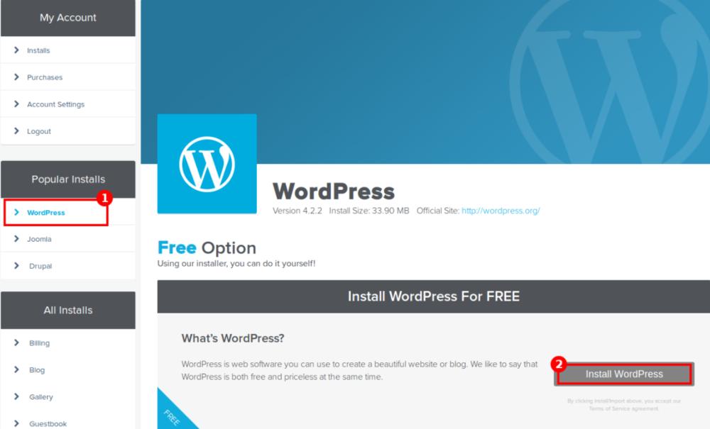 Installing WordPress on HostGator