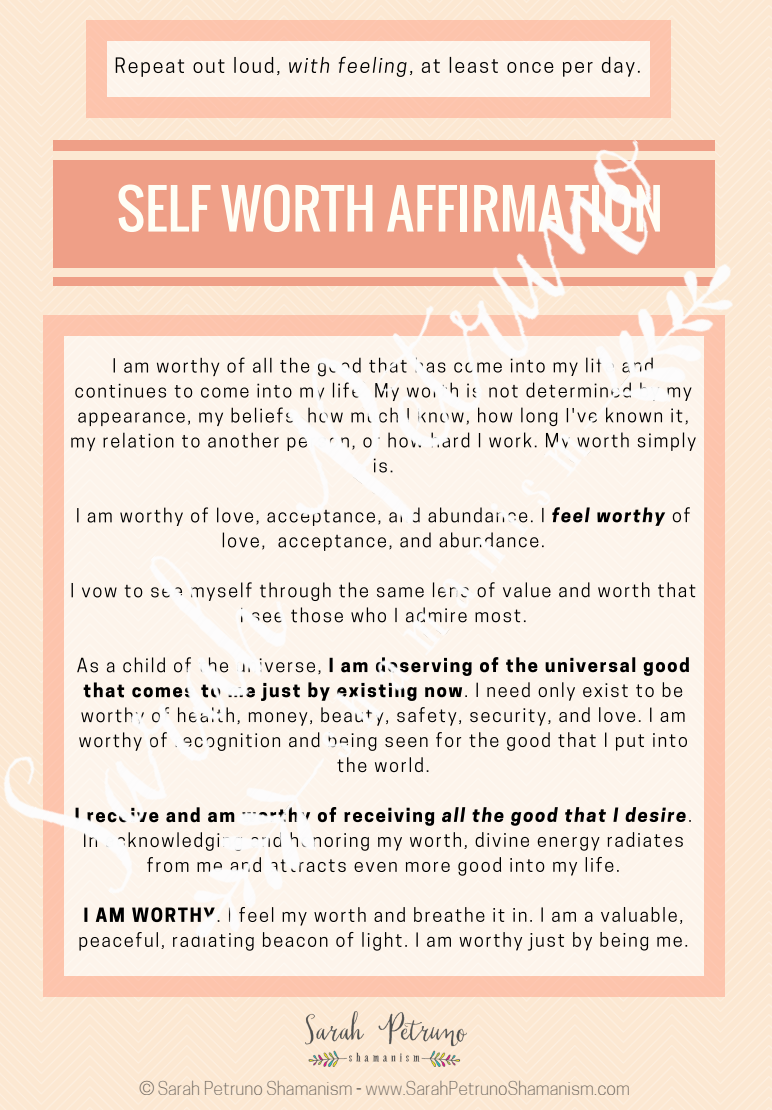 Free Self Worth Affirmation! (without the watermark)