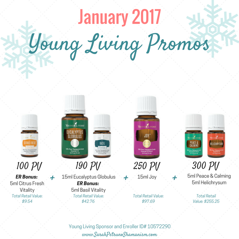 Young Living January 2017 Promotions, Sarah Petruno Shamanism