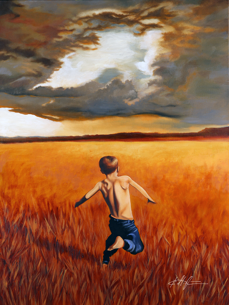 """Boy Running in Field"""