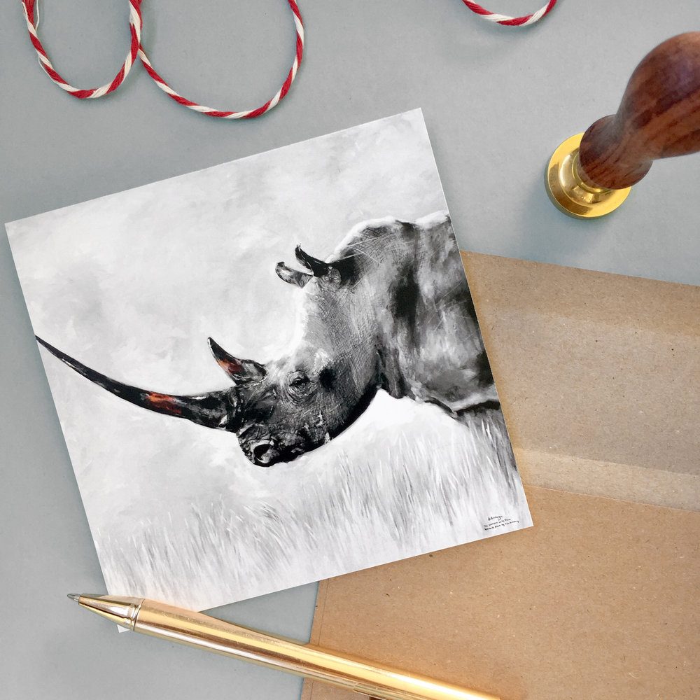 Northern White Rhino mini print and card