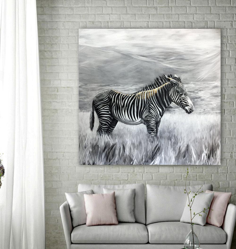 Greyv's Zebra - Acrylic | 48x48 | 24k Gold Leaf | $5,400
