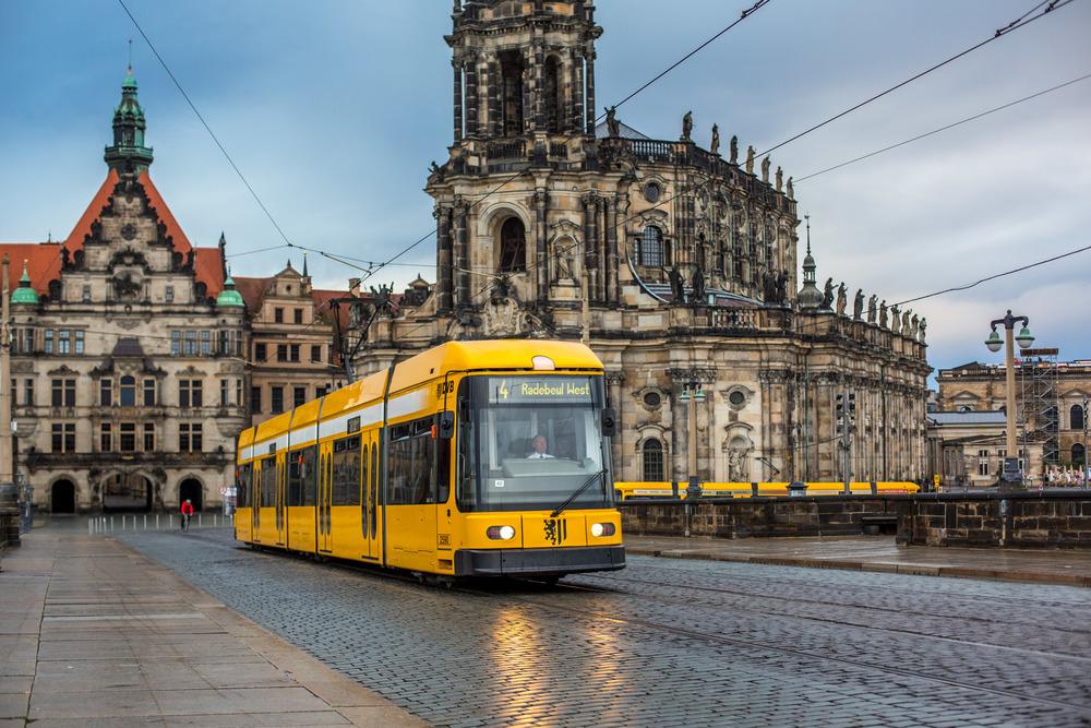 Tram crossing Augustusbrücke from Inner Altstadt