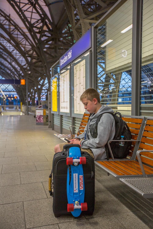 Waiting at Dresden Hauptbahnhof