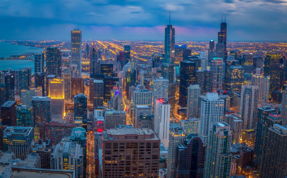 Chicago at twilight, Chicago, Illinois
