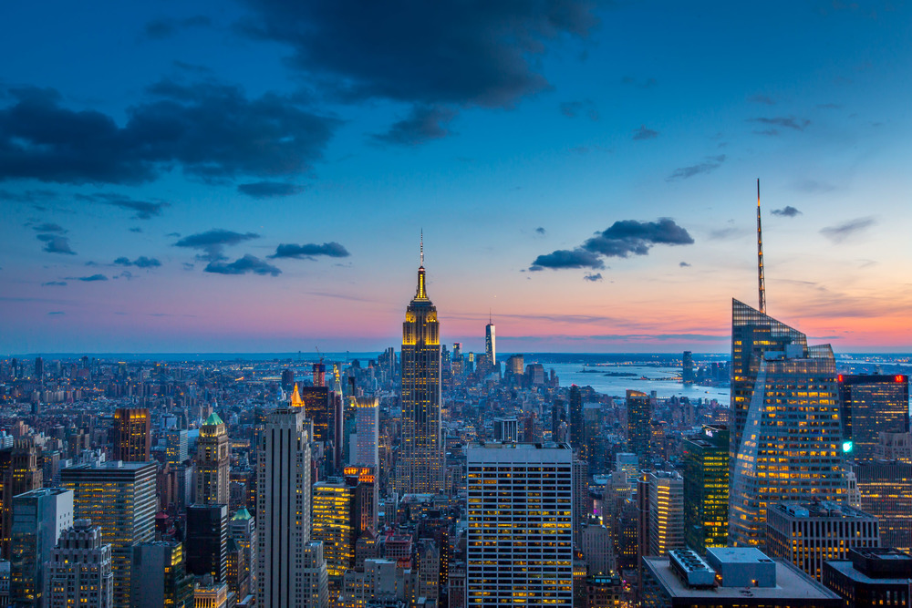 Manhattan at twilight, New York, New York