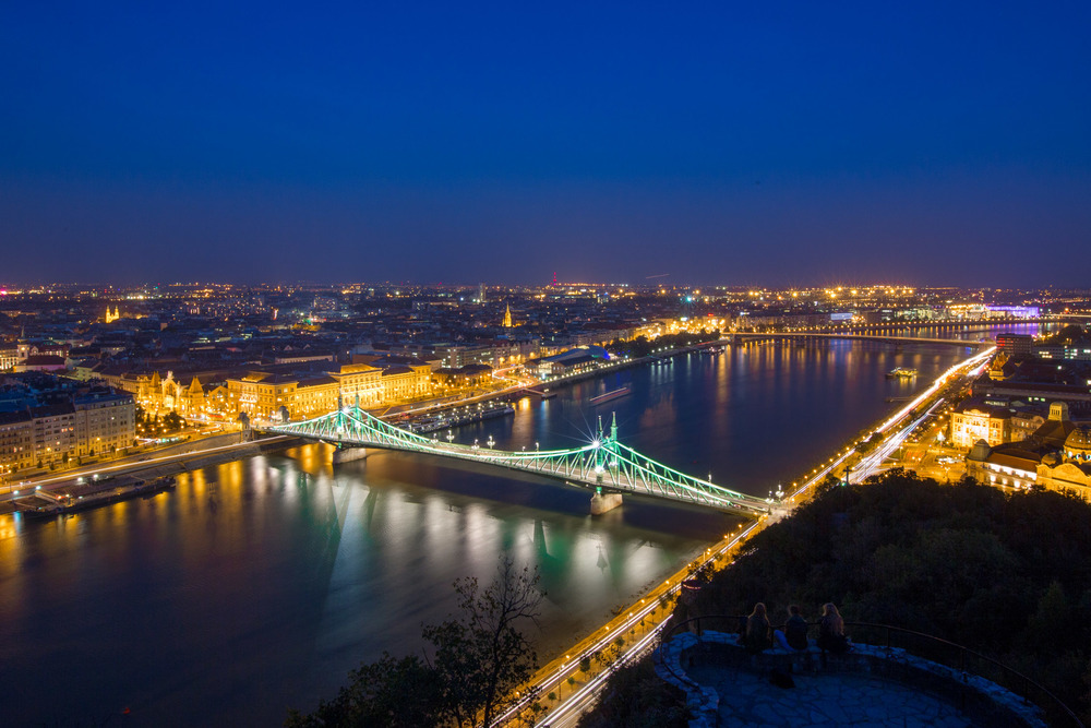 Overlooking the Szabadság (Liberty Bridge), Budapest, Hungary