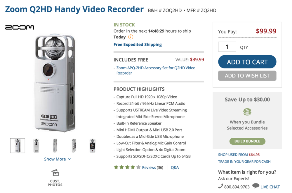 The Zoom Q2 is a practical, affordable, and very user friendly.  This one is a deal at B&H photo for under $100.00