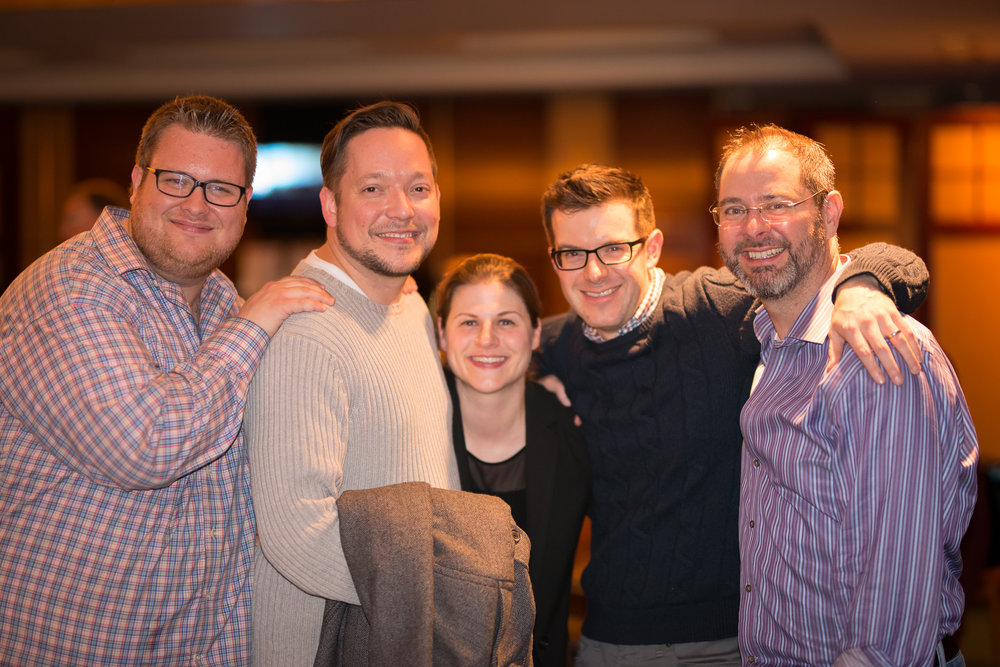 At the post concert party - left to right; Douglas Rosenthal, Jason Snider, Amanda Stewart, Tom Siders and Steve Lange.
