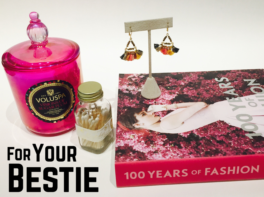 Your bestie will love this gorgeous Volsupa candle, mini match bottle and 100 Years of Fashion coffee table book!