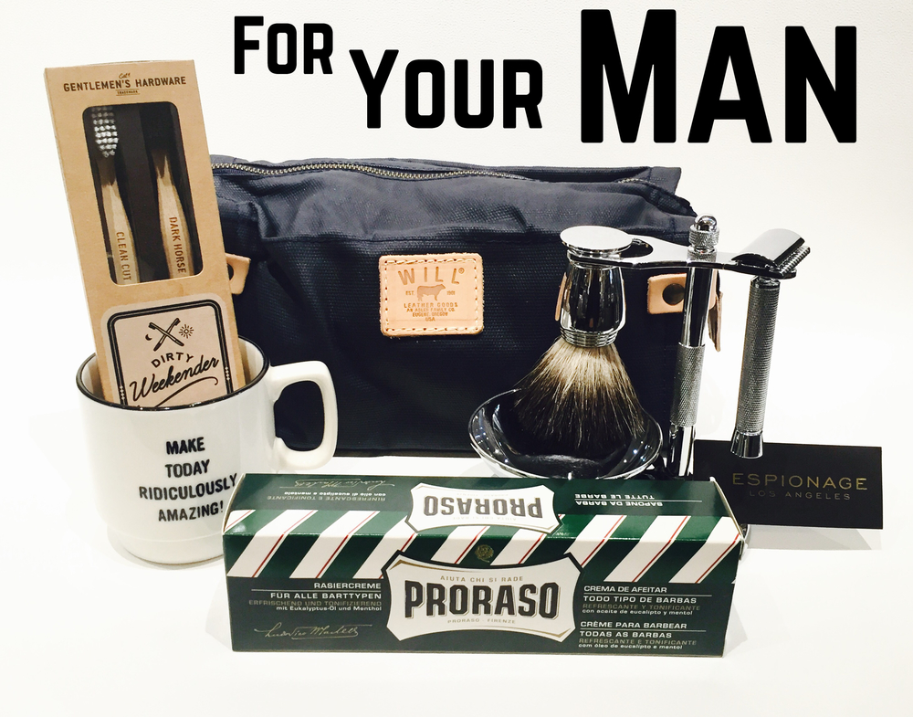 Finding the perfect gift for your love can always cause a little anxiety but you can't go wrong with a cute arrangement of things he needs and will use!  Will Leather Goods toiletry bag is made of wax canvas (every guys needs to update theirs from time to time), a bad ass straight edge razor set is super unique, Italian drugstore shaving cream, a coffee mug to get him pumped in the morning and a pair of toothbrushes (for you and him).