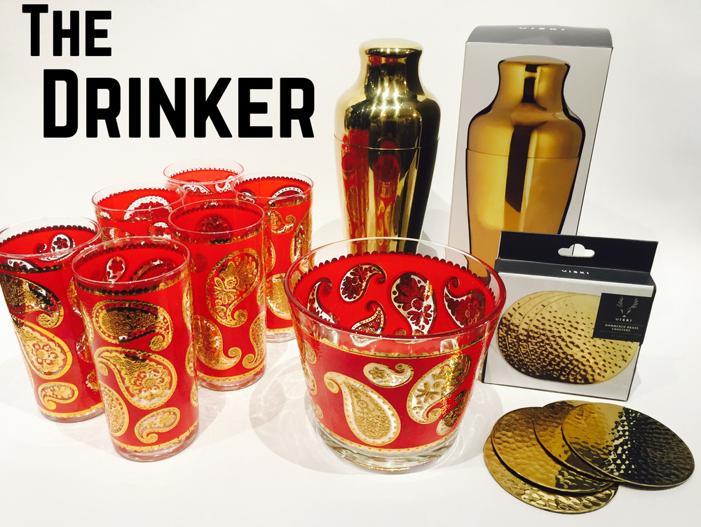 We all have that friend who is the life of the party!!!! Vintage 22k gold paisley glasses and ice bucket, gold martini shaker, gold hammered coasters.