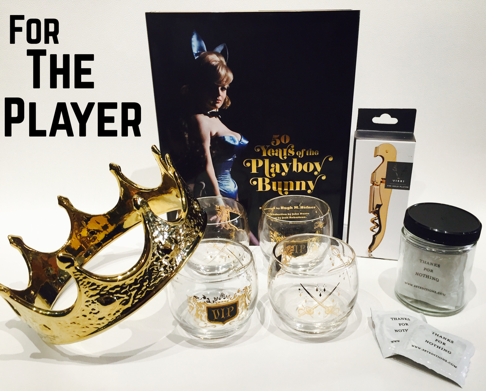 Players gonna play play play and if you can't beat 'em join 'em!!! Gold plated crown, vintage VIP whiskey glasses, 50 Years of the Playboy Bunny book, gold plated corkscrew, jar of condoms (so necessary).
