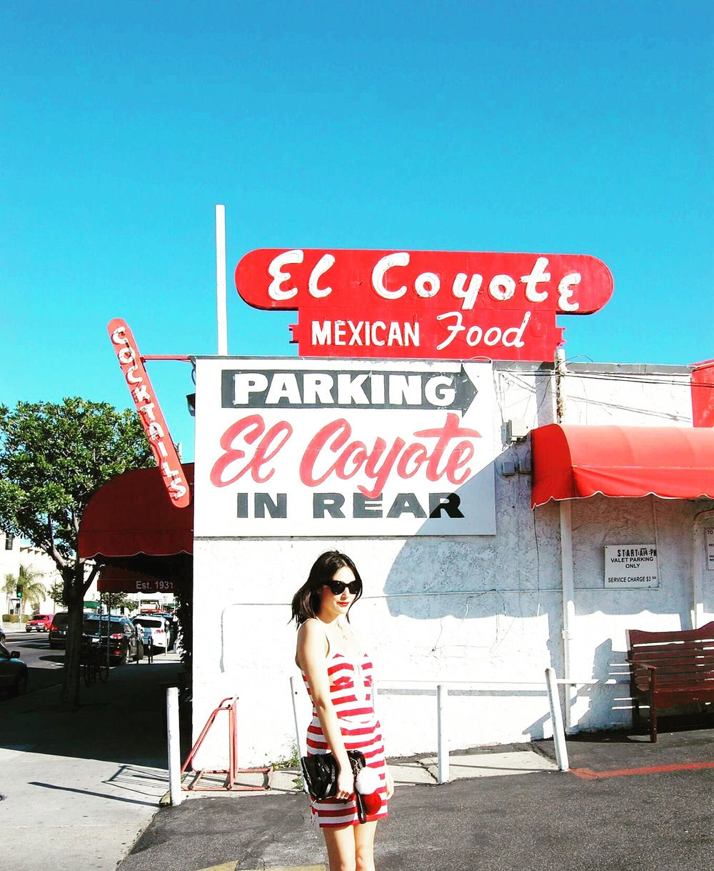 Off to a historic lunch at El Coyote! Hopefully it won't be your last meal....JKJK! Isabel Marant dress Size 2 $98, Alexander Wang clutch $198.