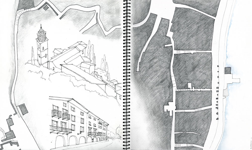 Nolli map and observational sketches of Morcote, Switzerland