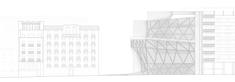 Paseo del Prado Elevation: The continuous movement of the ramps is articulated in the facade.  The suspended volumes of galleries can be seen through the curtain wall.