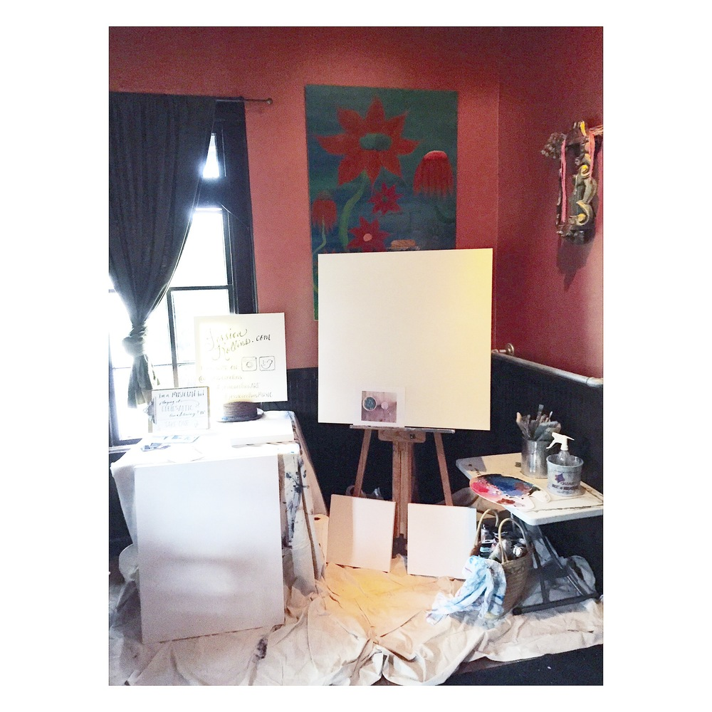 I set up in their main dining room and of course...Started with blank canvases;)