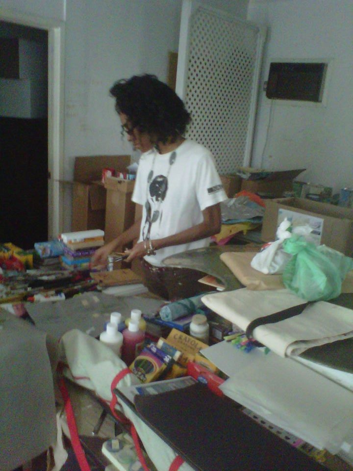 Jordia Benjamin, sorting Art Supplies at NAGB.