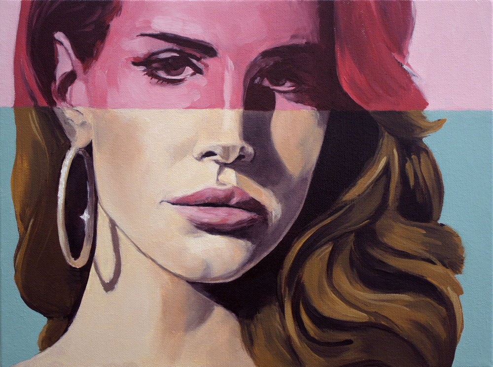 Lana with Pink Stripe and Gold Earring