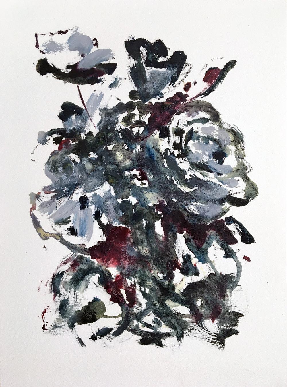 """Oil, eyeliner, and false eyelashes on paper, 12 x 9,"""" 2017."""
