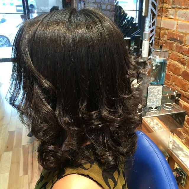 A Corrected Beautiful Long Layers Haircut by our Stylist Paola! Book your appointments today here at Franc Michael Salon.