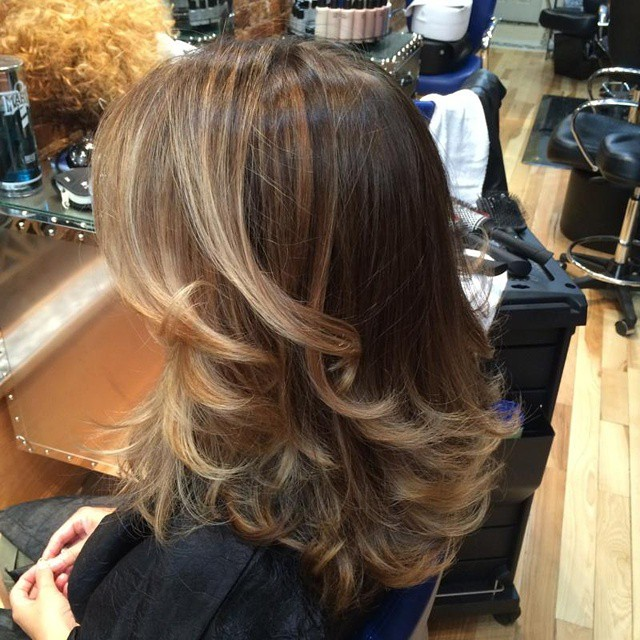 Balayage Highlights for a much softer  natural effect, by our Colorist Paola!