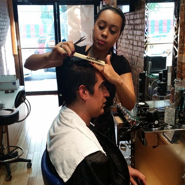 At Franc Michael Salon getting a haircut by Paola!