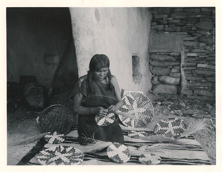 Making plaques. Shungopavi,   1901. Vintage Platinum Print, printed ca. 1901. Image measures 6 1/16 x 8 1/16 inches. Inventory #C1072.  Terms  |   Inquire