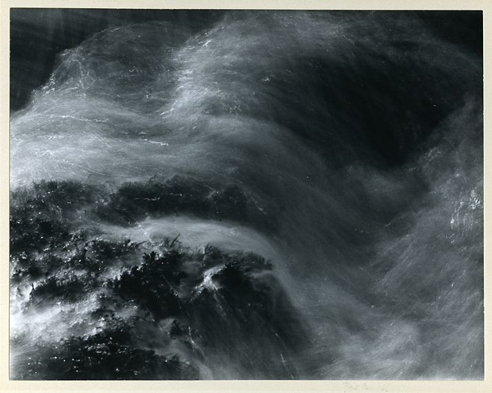 Untitled [Ocean wave],   ca. 1963. Gelatin silver print, ca. 1963. Image measures 7 1/2 x 9 5/8 inches. Signed on mount recto under image. Inventory #C0688   Terms  |  Inquire