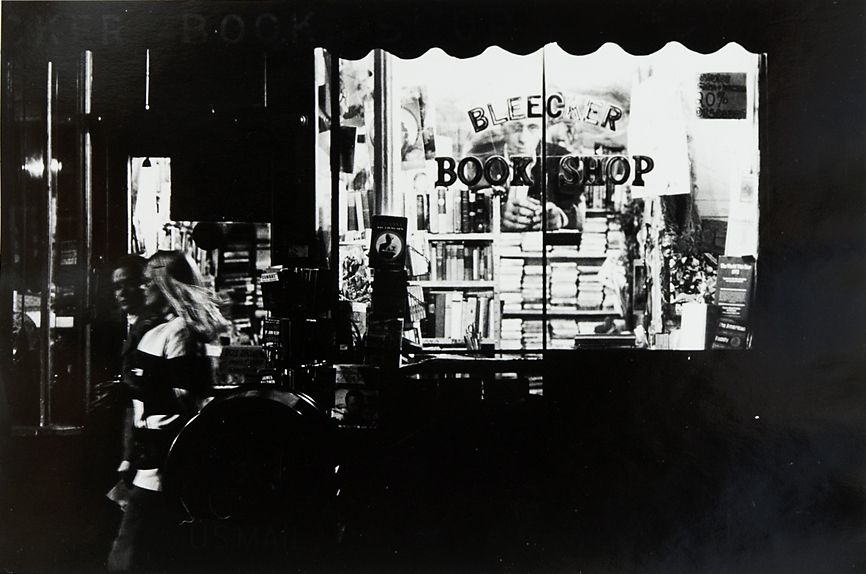 Untitled [New York, Bleeker Bookshop],   1973. Vintage Gelatin Silver Print. Credit stamp on back with negative number in pen. Image measures 8 5/8 x 13 inches. Inventory #C0855.  Terms    |    Inquire