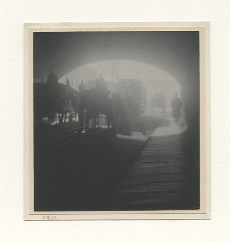42nd Street Tunnel to 1st Avenue [New York],     1911. Vintage platinum print. Tipped to double layer paper mount. Dated in pencil on 1st mount; signed in pencil and titled on 2nd mount verso. Image measures 3 7/8 x 3 5/8 inches. Inventory #C0465.    Terms    |    Inquire