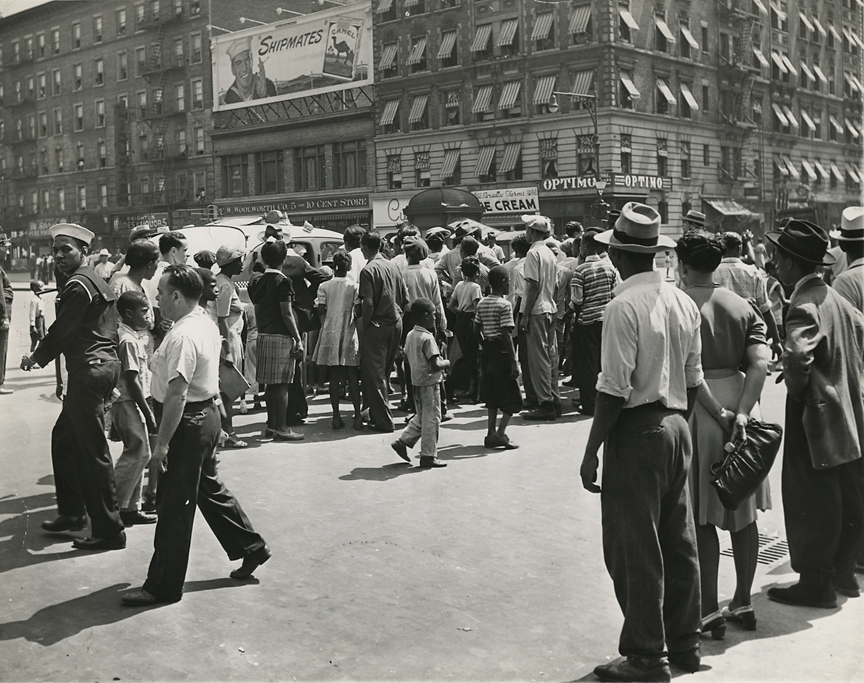 "Harlem, 116th st. and Lenox Ave., 1943. Vintage gelatin silver print.""Credit Photo by WeegeeThe Famous"" round stamp on print back. Date stamped Aug 3 1943. Image measures 7 3/8 x 9 1/2 inches. Inventory #C0740. Terms  