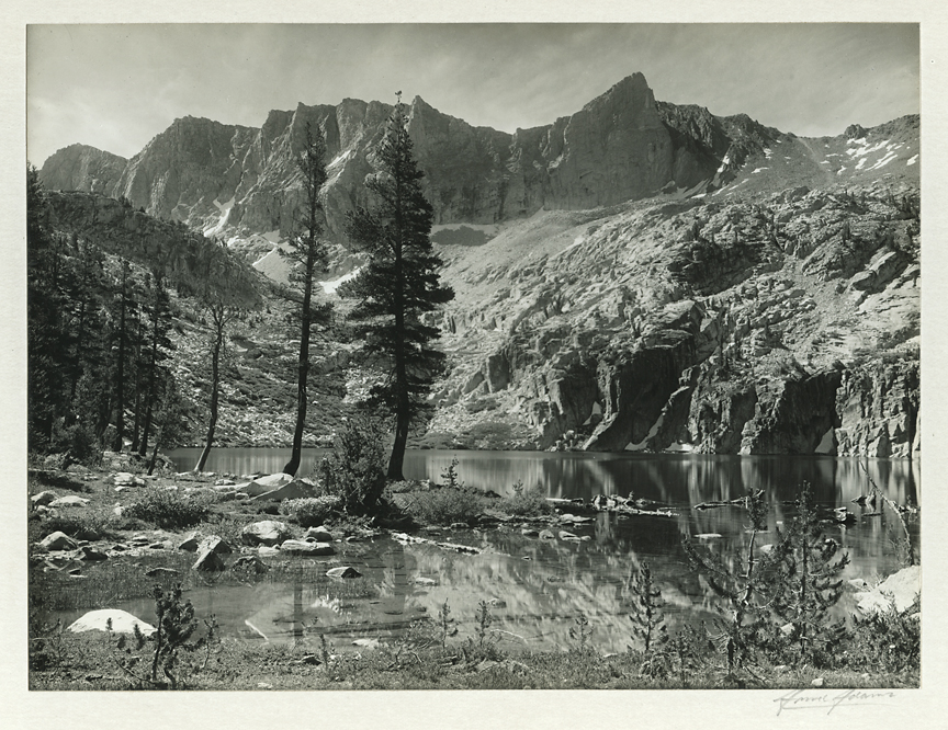 Kings River Canyon, Marion Lake    ,   1935. Vintage gelatin silver print, 1935. Signed in pencil on mount. Titled by Adams in pnecil on mount back, Image measures 6 1/8 x 8 1/8 inches.  Inventory #C0671.  Terms    |    Inquire