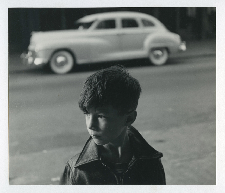 Boy and Car, 1962. Vintage gelatin silver print, ca. 1960s. Image measures 7 1/8 x 8 5/16 inches. Kessler's credit stamp on mount back.  Inventory #CK003. SOLD. Terms  |  Inquire