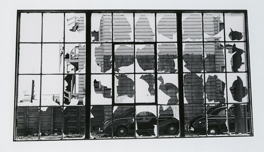 Untitled [View through broken windows], ca. 1950s. Vintage gelatin silver print, ca. 1950s. Image measures 5 1/8 x 9 1/2 inches. Signed in pencil on mount front.Credit stamps on mount back. Inventory #CK008. $1,500. Terms  |  Inquire
