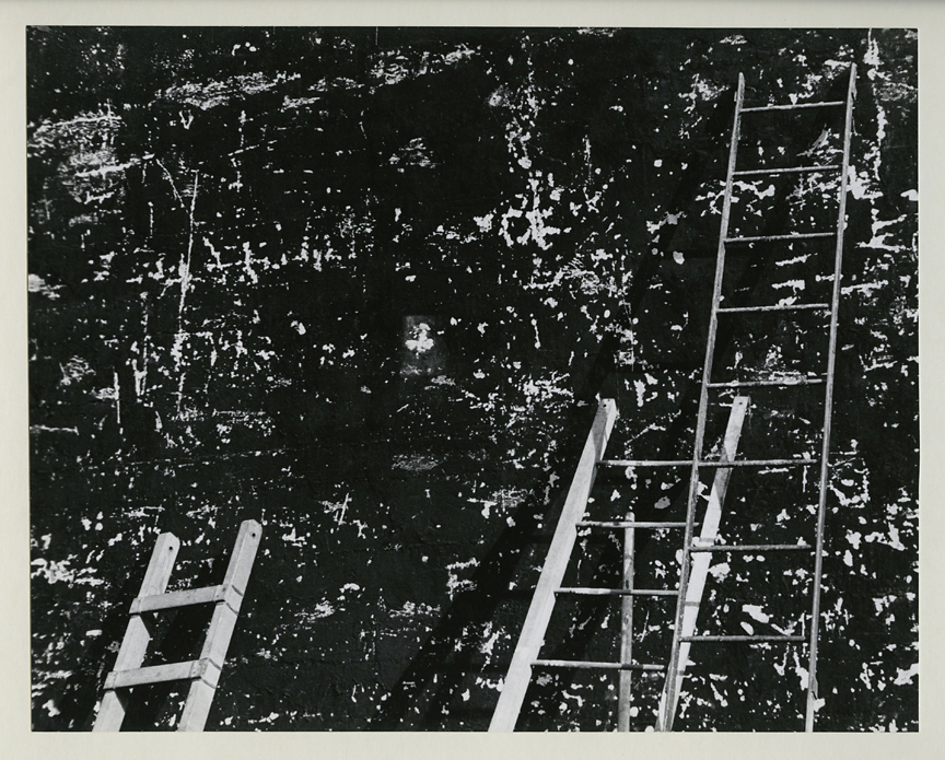 Untitled [Ladders & wall], ca. 1950s. Vintage gelatin silver print, ca. 1950s. Image measures 7 1/2 x 9 7/16 inches. Signed in pencil on mount front. Credit stamps on mount back. Inventory #CK014. SOLD. Terms  |  Inquire