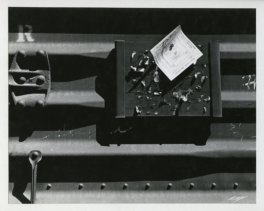 Untitled [detail of train box car], ca. 1950s. Vintage gelatin silver print, ca. 1950s. Image measures 7 1/2 x 9 7/16 inches. Signed in pencil on mount front. Credit stamps on print back. Inventory #CK010. $1,500. Terms  |  Inquire
