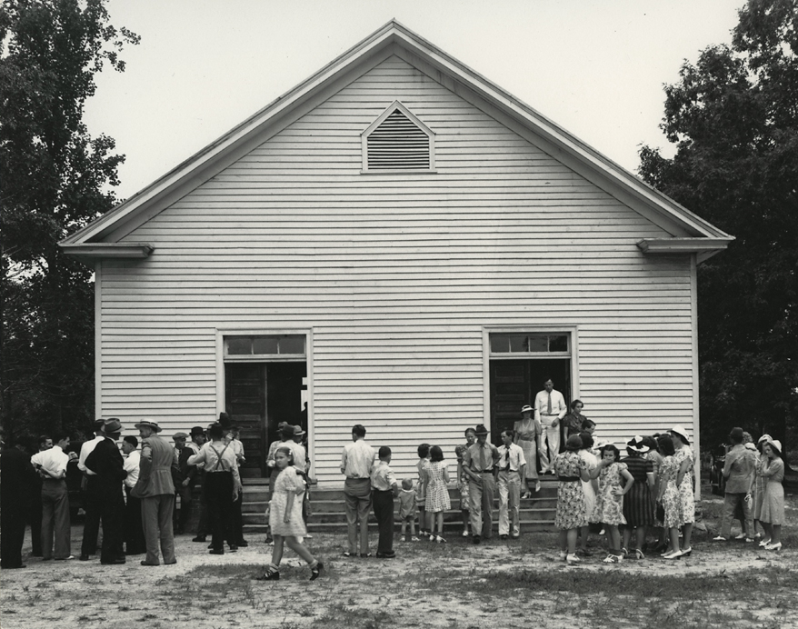 Dorothea Lange. Wheeley's Church, near Gordonton, Person County, NC, 1939. Gelatin silver print, ca. 1950s.