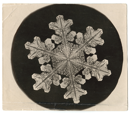 Snowflake crystal photomicrograph,   ca. 1903-1910. Vintage Gelatin Silver Print, printed ca. 1903-1910. Image measures 3 1/2 x 3 inches. Inventory #C1216.  SOLD   Terms  |  Inquire